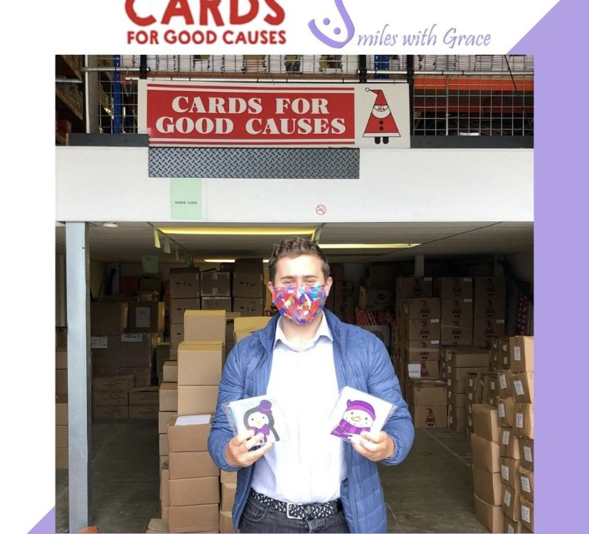 Tom Bromwich dropped off Smiles With Grace Christmas cards at Cards for Good Causes